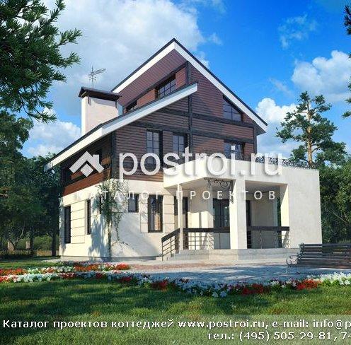 Проект вузького будинку з мансардою